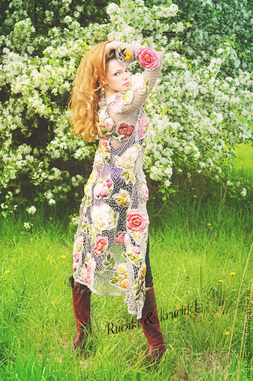"""Пиджаки, жакеты ручной работы. Ярмарка Мастеров - ручная работа. Купить Жакет крючком """"Королева роз"""" из натурального шелка ручногй о. Handmade."""