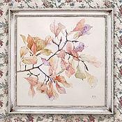 Картины и панно ручной работы. Ярмарка Мастеров - ручная работа акварельная картина Романтичная листва (сиреневый, белый, розовый). Handmade.