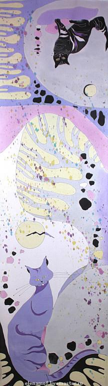 Шарфы и шарфики ручной работы. Ярмарка Мастеров - ручная работа. Купить Шарф Лиловые коты. Handmade. Шарфик с росписью
