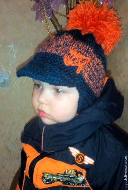 Шапки ручной работы. Ярмарка Мастеров - ручная работа. Купить вязаная шапка-кепка детская. Handmade. Тёмно-синий