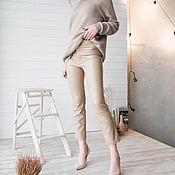 Брюки ручной работы. Ярмарка Мастеров - ручная работа Кожаные брюки, капри из эко-кожи, слим-фит капри, брюки. Handmade.