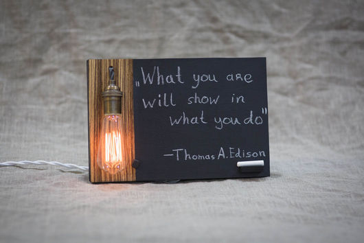 Интерьерный светильник. Лампа Эдисона. Винтажный стиль, ручная работа. Уникальный подарок на любое торжество #TwinsWood