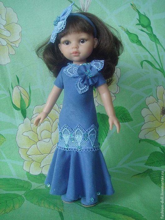 Одежда для кукол ручной работы. Ярмарка Мастеров - ручная работа. Купить Платье+обувь на куклу 32см. Paola Reina. Handmade. Синий