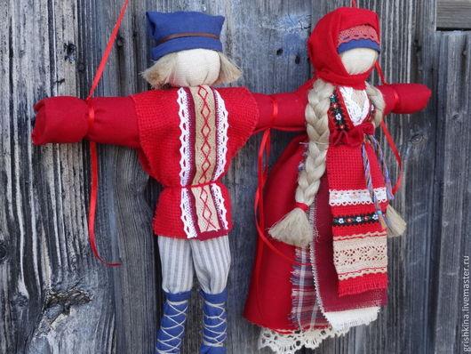 """Народные куклы ручной работы. Ярмарка Мастеров - ручная работа. Купить Свадебная кукла- """"Неразлучники"""". Handmade. Ярко-красный"""