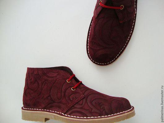 Обувь ручной работы. Ярмарка Мастеров - ручная работа. Купить Бордовые замшевые ботинки Барокко. Handmade. Бордовый, оригинальная обувь