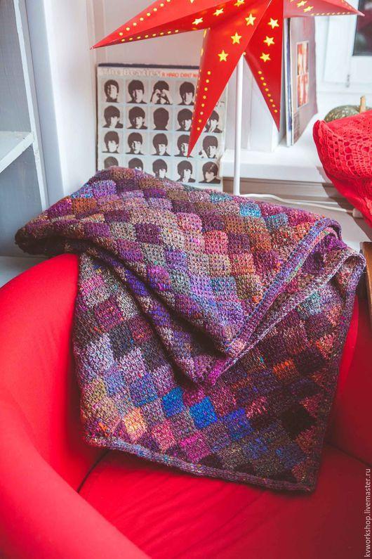 """Текстиль, ковры ручной работы. Ярмарка Мастеров - ручная работа. Купить Плед """"Пряный глинтвейн"""". Handmade. Комбинированный, плед вязаный"""