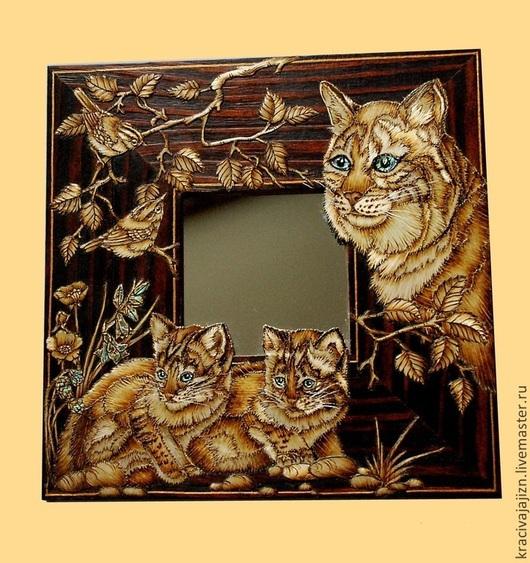 """Зеркала ручной работы. Ярмарка Мастеров - ручная работа. Купить зеркало """"Дикие кошки"""". Handmade. Зеркало, подарок, подарок подруге"""