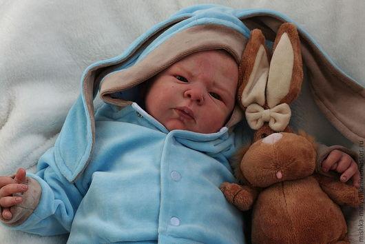 """Для новорожденных, ручной работы. Ярмарка Мастеров - ручная работа. Купить Костюмчик """"Зайка"""" для малыша. Handmade. Голубой, хлопковый трикотаж"""