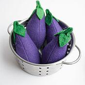 Кукольная еда ручной работы. Ярмарка Мастеров - ручная работа Баклажан из фетра овощи из фетра. Handmade.