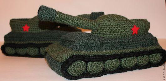 Обувь ручной работы. Ярмарка Мастеров - ручная работа. Купить Тапки ТАНКИ. Handmade. Тапочки, танки, мужские тапочки, тапки