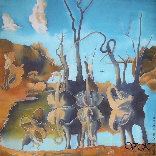 """Шали, палантины ручной работы. Ярмарка Мастеров - ручная работа. Купить Батик платок """"Лебеди ,отражающиеся в слонах"""". Handmade. Голубой"""