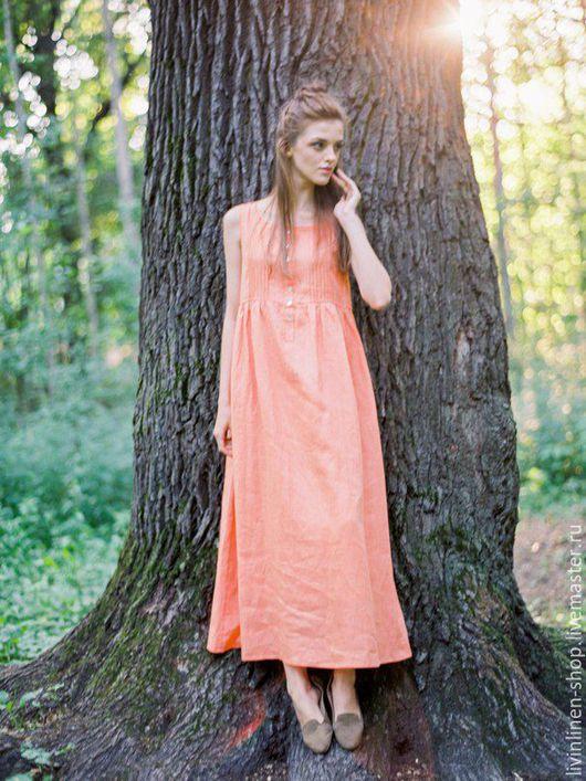 Платья ручной работы. Ярмарка Мастеров - ручная работа. Купить ЛЬНЯНОЙ  САРАФАН. Handmade. Рыжий, мережка, пляжное платье, оранжевый