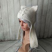 Аксессуары ручной работы. Ярмарка Мастеров - ручная работа Шапка-кошка из мериносовой шерсти. Handmade.
