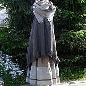 Одежда ручной работы. Ярмарка Мастеров - ручная работа №128 Льняной комплект сарафан+юбка+шарф. Handmade.