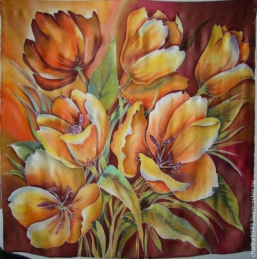 Шали, палантины ручной работы. Ярмарка Мастеров - ручная работа. Купить Платок 90/90, Тюльпаны. Handmade. Разноцветный, тюльпаны, атлас