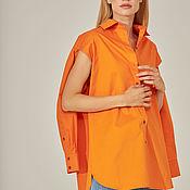 Одежда handmade. Livemaster - original item Loose-fitting shirt with orange slits. Handmade.
