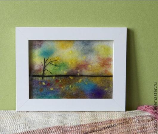 Пейзаж ручной работы. Ярмарка Мастеров - ручная работа. Купить Разноцветный Ветер из шерсти. Handmade. Картина, войлок, пейзаж, подарок