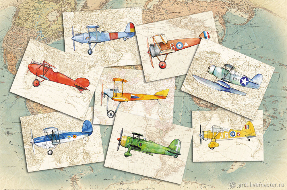 Planes Cards for men and boys, Set of 8 PCs, Cards, St. Petersburg,  Фото №1