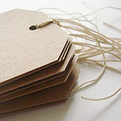 Этикетки ручной работы. Ярмарка Мастеров - ручная работа Бирки из крафт-бумаги 6,5х11,5 см срезанные углы. Handmade.