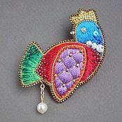 Украшения handmade. Livemaster - original item Brooch HEN beads, sequins, silk, straw, pearls. Handmade.