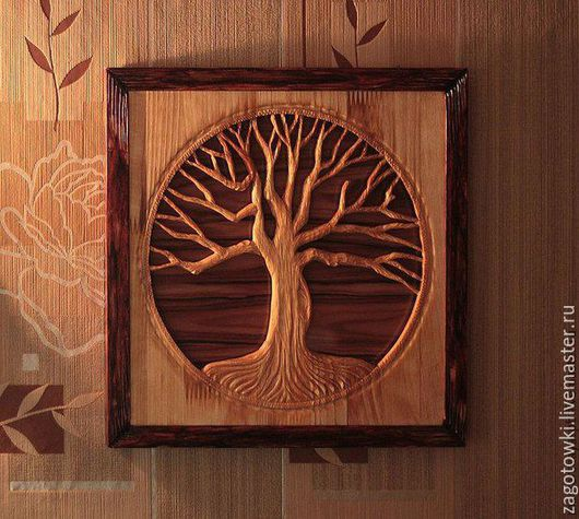 """Пейзаж ручной работы. Ярмарка Мастеров - ручная работа. Купить Панно """" Старый дуб"""". Handmade. Резьба по дереву"""