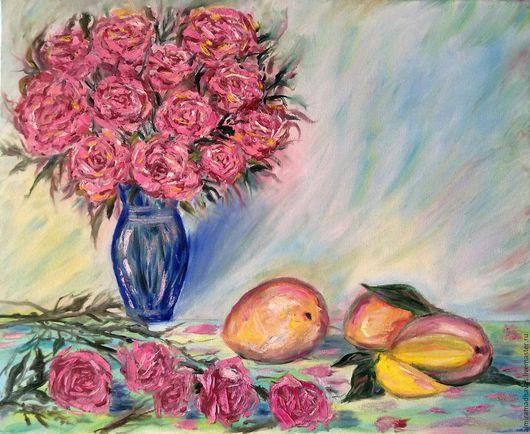 Натюрморт ручной работы. Ярмарка Мастеров - ручная работа. Купить Розы и спелые манго. Handmade. Розовый, фрукты радость любовь