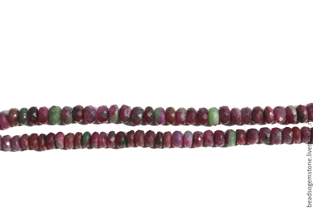 Ruby Zoisite Faceted Roundel (Quality AAA) / RUBYZ-001, Beads1, Moscow,  Фото №1