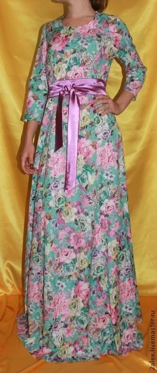 """Платья ручной работы. Ярмарка Мастеров - ручная работа. Купить Платье хлопковое """"Розовое сумашествие"""" бирюзовое. Handmade. Цветочный, эластан"""