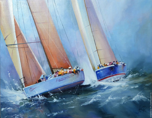 Пейзаж ручной работы. Ярмарка Мастеров - ручная работа. Купить Регата PHAZAN. Handmade. Море, яхты, пейзаж, лодки, приключение