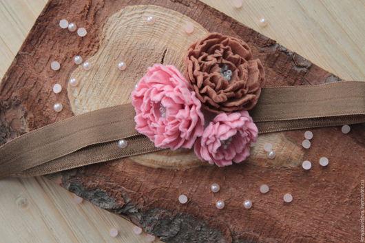 Детская бижутерия ручной работы. Ярмарка Мастеров - ручная работа. Купить Повязка для волос, шоколадно-бледно розовая. Handmade. Коричневый