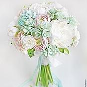 Свадебный салон ручной работы. Ярмарка Мастеров - ручная работа Мятный букет невесты из полимерной глины. Handmade.