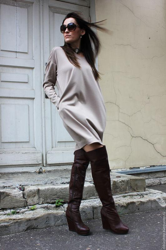 R00040 бежевое платье короткое платье стильное платье свободное платье теплое платье из шерсти платья мода 2015 красивое платье кремовое платье шерстяное платье на каждый день бежевый платья