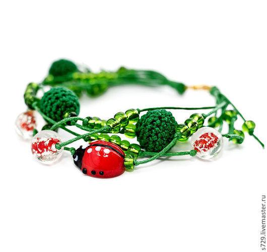 браслет, Браслет ручной работы, браслет на застежке, браслет для девушки, браслет зеленый, браслет красный, божья коровка, божьи коровки, зелёный, зелёный цвет, Вязаный браслет, зелёный браслет, красн