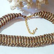 Украшения handmade. Livemaster - original item Choker necklace made of beads Golden waves. Handmade.