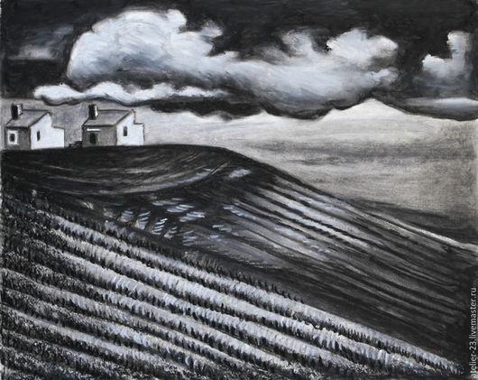 Пейзаж ручной работы. Ярмарка Мастеров - ручная работа. Купить Картина Тоскана черная пейзаж. Handmade. Чёрно-белый, серый