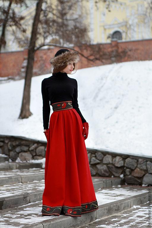 """Юбки ручной работы. Ярмарка Мастеров - ручная работа. Купить Юбка """"Русские сезоны"""". Handmade. Ярко-красный, шерстяное сукно"""