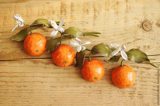 """Броши ручной работы. Ярмарка Мастеров - ручная работа. Купить брошка из кожи""""Мандариновое нашествие"""".. Handmade. Оранжевый, мандарин, фрукты"""