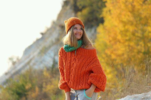 """Кофты и свитера ручной работы. Ярмарка Мастеров - ручная работа. Купить Объемный свитер в стиле """"Рубан"""". Handmade. Оранжевый"""