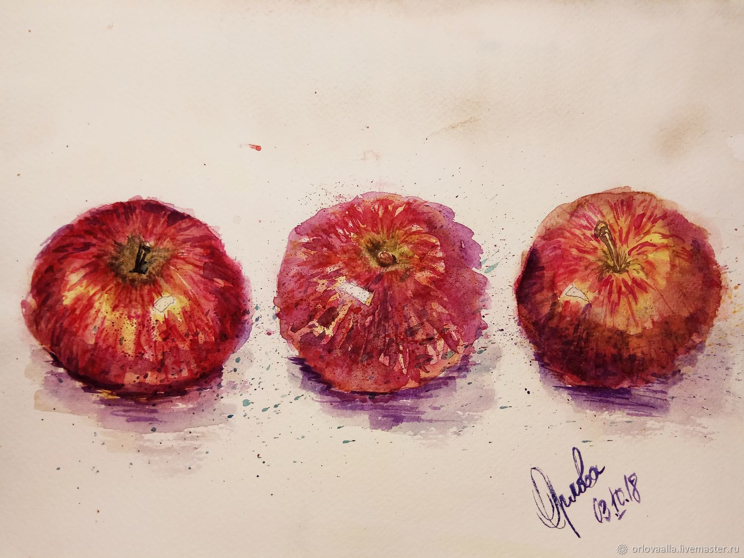 PAINTING APPLES Red STILL LIFE WITH FRUIT, Pictures, Samara,  Фото №1
