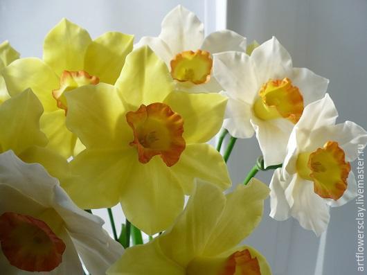 Букеты ручной работы. Ярмарка Мастеров - ручная работа. Купить Нарциссы из полимерной глины. Handmade. Желтый, красивые цветы