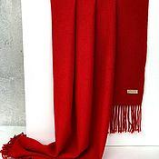 Шарфы ручной работы. Ярмарка Мастеров - ручная работа Тканый кашемировый шарф красный теплый. Handmade.