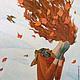 Люди, ручной работы. Ярмарка Мастеров - ручная работа. Купить Осень плачет. Handmade. Рыжий, девушка, платок, листья, птица