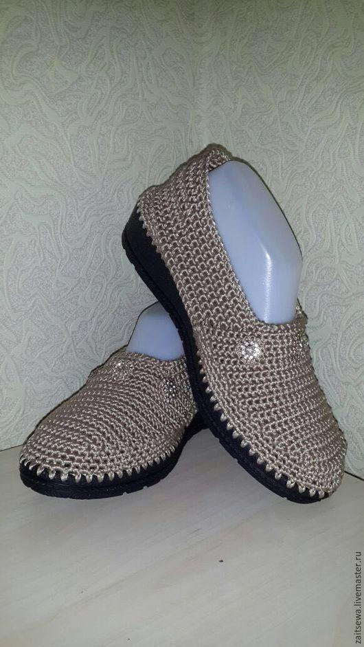 Обувь ручной работы. Ярмарка Мастеров - ручная работа. Купить Слипоны на танкетке...цвет темный песок. Handmade. Золотой, слипоны