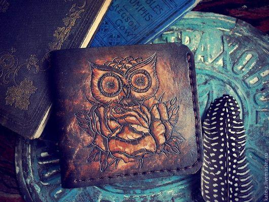 Кошельки и визитницы ручной работы. Ярмарка Мастеров - ручная работа. Купить Кошелек кожаный Сова портмоне бумажник из натуральной кожи. Handmade.
