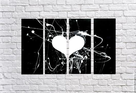 """Абстракция ручной работы. Ярмарка Мастеров - ручная работа. Купить Модульная картина """"Биение сердца"""".. Handmade. Чёрно-белый"""