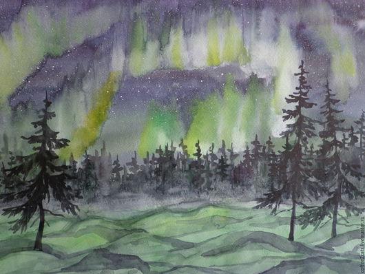 """Пейзаж ручной работы. Ярмарка Мастеров - ручная работа. Купить Акварель """"Северное сияние"""". Handmade. Зеленый, акварельная живопись"""