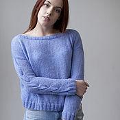Одежда ручной работы. Ярмарка Мастеров - ручная работа Широкий голубой свитер с косами. Handmade.