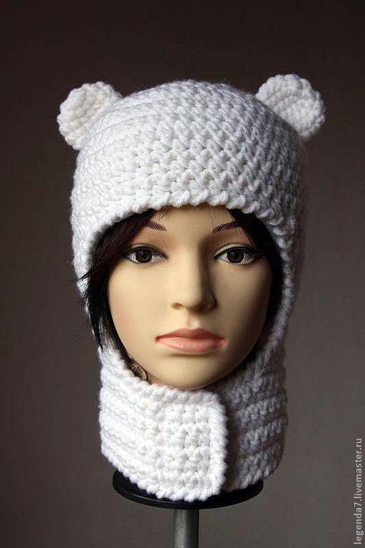 Шапки ручной работы. Ярмарка Мастеров - ручная работа. Купить Шапочка шлем с ушками (шапка Финна). Handmade. Белый