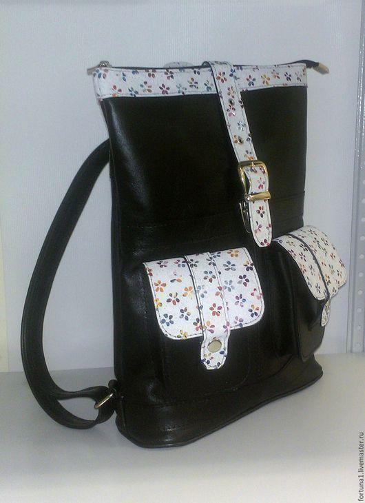 Рюкзаки ручной работы. Ярмарка Мастеров - ручная работа. Купить Рюкзак кожаный городской 83. Handmade. Комбинированный, рюкзак для девушки