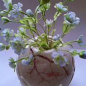Цветы ручной работы. Ярмарка Мастеров - ручная работа Букет `Синий лён интерьерные цветы из шелка. Handmade.